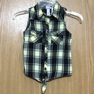 Plaid Tie Front Sleeveless Button Shirt Size 7